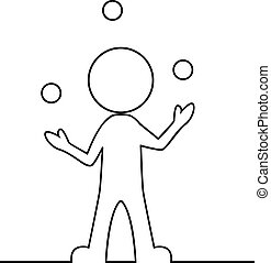 Simple man juggling with balls - Vector illustration of...