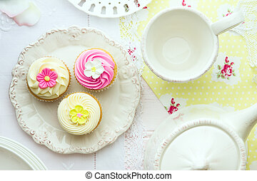 Afternoon tea - Tea and cupcakes, overhead view