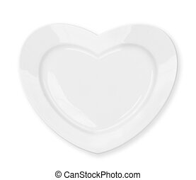 white heart shape plate isolated with clipping path included