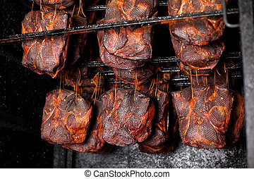 Ham Hanging In The Smoking House - Ham hanging in the...