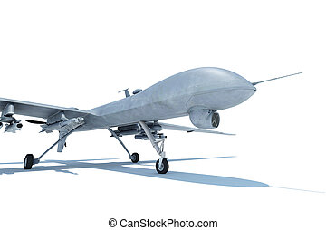 Military combat drone on white ground isolated