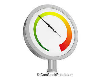 Pressure Gauge with colored scale and isolated on white...