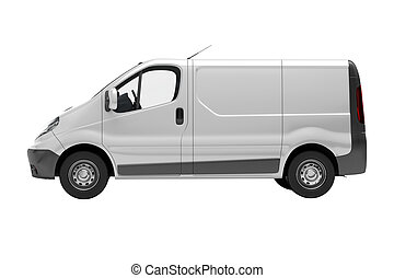 White commercial van isolated - White commercial van...