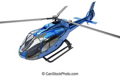 Modern helicopter isolated - Modern blue helicopter on a...