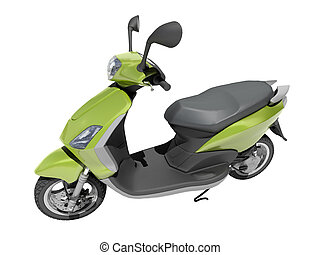Trendy retro scooter close up - Trendy green scooter close...