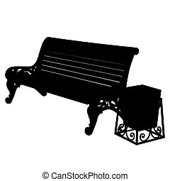 wooden bench with an urn isolated on white background. Vector illustration.