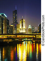 Downtown Chicago with Trump International Hotel and Tower in...
