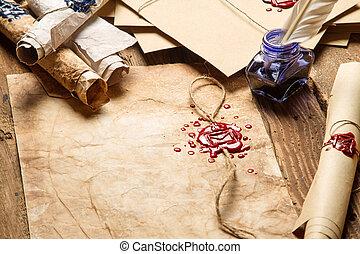 Primer plano, viejo, Rollos, papel, anteojos, azul, tinta,...