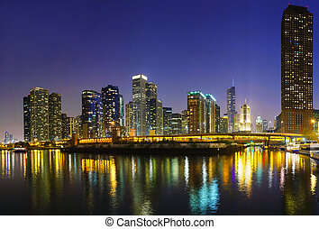 Downtown Chicago, IL in the night - Downtown Chicago, IL at...