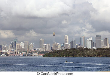 Sydney city center from Watson Bay
