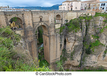Ronda, Spain - Side view of the old city of Ronda,Malaga,...