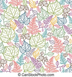 Line Art Leaves Seamless Pattern Background