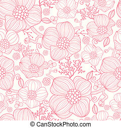 Red line art flowers seamless pattern background - Vector...