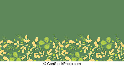 Green And Gold Leaves Horizontal Seamless Pattern Border -...
