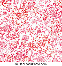 Poppy flowers line art seamless pattern background - Vector...