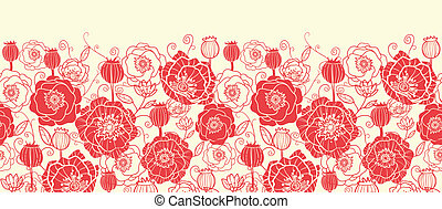 Red poppy flowers horizontal seamless pattern border -...