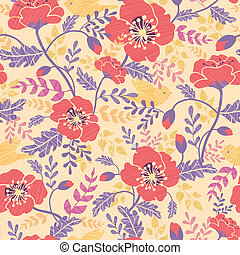 Poppy flowers and birds seamless pattern background - Vector...