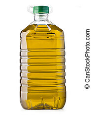 bottle oil - Plastic bottle of olive oil with handle on...