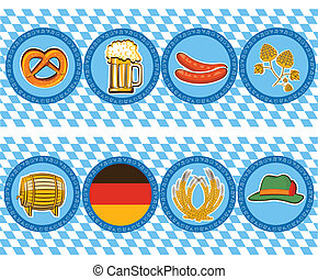 beer elements with oktoberfest symbolVector labels - Vector...