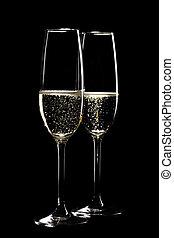 due, occhiali, sfavillante, champagne, infront, nero