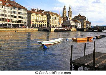 Zurich cityscape with river Limmat , Switzerland