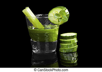 Green wheat grass drink. - Green wheat grass drink with...