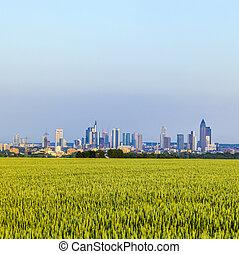 view of Frankfurt skyline with fields