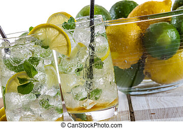 Close-up on lemon drink with ice