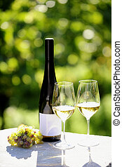 Two glasses of white wine (Riesling) and bottle in vineyard