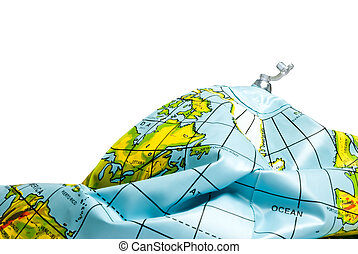 deflated planet earth isolated over white background