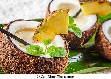 closeup, pinacolada, coco