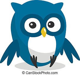 Funny cartoon owl - Funny blue cartoon owl with big eyes