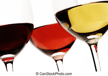 White, rose and red wine - isolated on white
