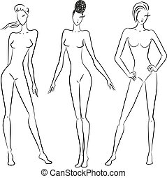 The sketch of women in different poses
