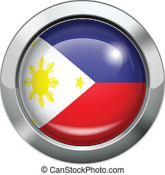Philippine flag metal button - Vector illustration of...