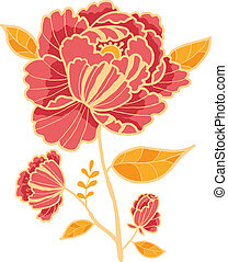 Golden and red flower design element - Vector golden and red...