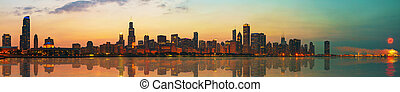 Downtown Chicago, IL at sunset