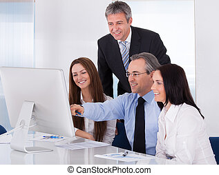 Happy Business People Working - Portrait Of Happy...