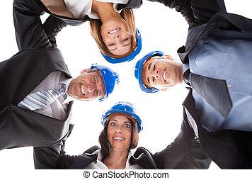 Happy Architects Making Huddle - Group Happy Architects...