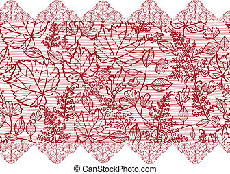 Red lace flowers horizontal seamless pattern border