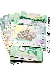 Series of twenty Canadian dollars folded the Asian way