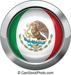 Mexico flag metal button