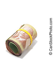 Roll of Canadian banknotes with 100 dollars at the surface