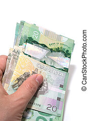 Series of twenty Canadian dollars folded the Asian way -...