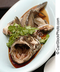 Steamed fish. - Chinese style freshly steamed grouper fish.