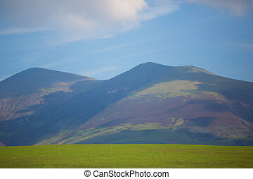 View of Keswick and Skiddaw in Lake District National Park...