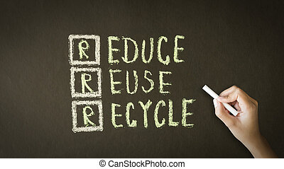 Reduce, Reuse, Recycle Chalk Drawing - A person drawing and...