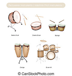 Set of Drum Instruments with Sticks on White Background -...