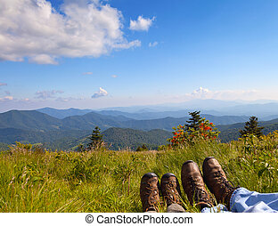 Hikers enjoying the view on Round Bald, Roan Mountain State...