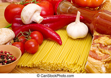 pasta with tomatoes, cheese - Italian raw pasta with...